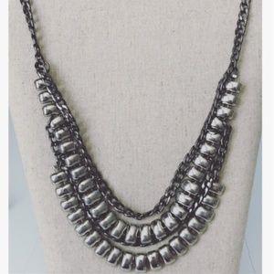 Boho-edgy Silver Statement Necklace